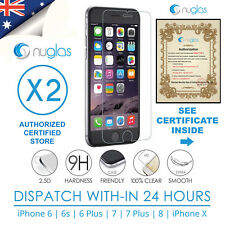 2x GENUINE NUGLAS Tempered Glass Screen Protector for iphone 6 6s 7 7 Plus 8 (X)