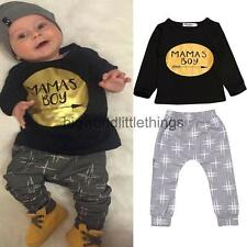 Newborn Toddler Baby Boys 2pcs Outfits Long T-Shirt Tops + Pants Clothes Sets