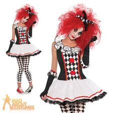 Harlequin Honey Costume Teen Ladies Halloween Sexy Jester Fancy Dress Outfit