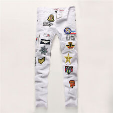 Men's White Ripped Patch Embroidery Slim Skinny Pants Destroyed Straight Jeans