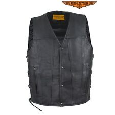 Men's Black Leather Motorcycle Vest with Gun Pockets & Side Laces Great Deal
