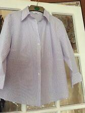 Poly Cotton M&S 3/4 sleeve white striped shirt collar button front size 16