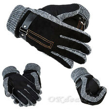 Men Winter Warm Gloves PU Leather Thermal Thicken Windproof Mittens Driving