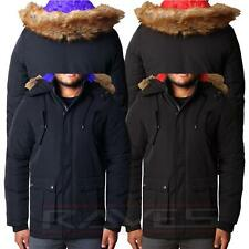 Mens Parker Parka Fashion Warm Padded Winter Jacket With Fur Trim Hood Coat