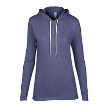 Women's Lightweight Long Sleeve Hooded T-Shirt Anvil Ladies Hoodie Heather Blue