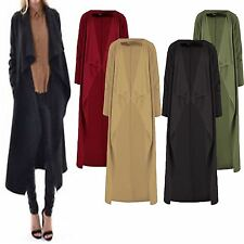 WOMENS LADIES CASUAL PLAIN WATERFALL LONG DUSTER CARDIGAN JACKET PLUS SIZE 16-26