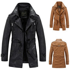 Men's Slim Trench Coat Winter Warm Long Jacket Fleece Parka Faux Leather Outwear