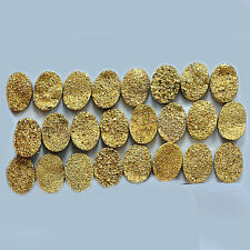 8x6mm - 15x20mm Natural Gold Color Coated Flat Oval Druzy Loose Gemstone