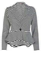 WOMENS LADIES LONG SLEEVE SLIM FIT PEPLUM STRIPED BLAZER JACKET PLUS SIZE 8-26