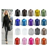 NEW WOMENS LADIES CASUAL PLAIN LONG SLEEVE POLO NECK TOP T-SHIRT PLUS SIZE 8-26