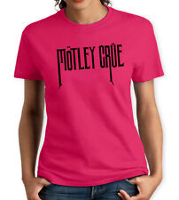 MOTLEY CRUE PINK & BLACK WOMENS T SHIRT MUSIC ROCK PUNK RETRO LEE HEAVY POP 80s