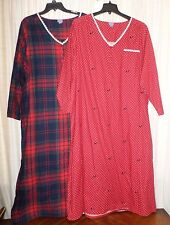 Plus Size 100% Cotton Henley Flannel Nightgown Long Sleeve Long Full Length Gown