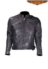 Mens Motorcycle Racer Black Leather Jacket With Racer Collar Great Deal