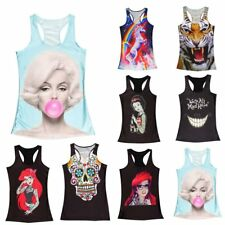 Women's Singlet Vest Tank Tops Stretchy Blouse Gothic Punk Rock T-Shirt Hot LC