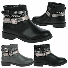 GIRLS ANKLE BOOTS KIDS CHILDRENS AUTUMN WINTER BIKER STYLE SHOES SCHOOL SIZE NEW