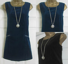 NEW EX M&CO CORD PINAFORE SHIFT DRESS CASUAL CORDUROY BLUE BROWN RRP £35 SZ 8-20