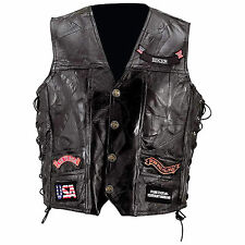 Man's Rock Design Genuine Buffalo Leather Biker  Vest by Diamond Plate™