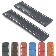 DASSARI Vantage Crocodile Leather Watch Band Croc Strap Deployment fit Breitling