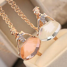 Fashion Gold Plated Sweater Chain Shiny Crystal Ballet Girl Pendant Necklace