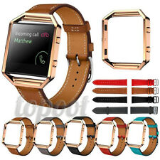Luxury Replacement Leather Watch Band Wrist Strap + Metal Frame For Fitbit Blaze