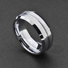 8mm Tungsten Carbide Grooved Center Beveled Edge Satin Top Men's Wedding Band