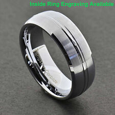 8mm Men's Tungsten Satin Dome Top Grooved Beveled Edge Wedding Band