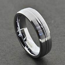 6mm Men's Tungsten Carbide Satin Dome Top Grooved Beveled Edge Wedding Band