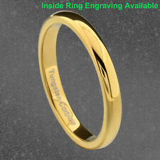 3mm Gold Tungsten Carbide Unisex Wedding Band Ring