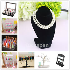 Jewelry Earrings Ring Necklace Watch Display Boxes Stand Holder Show Rack Lot AL