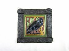 California Raven Tile and Hammered Wrought Iron Wall Plaque (right facing)