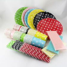24set Paper Tableware Dining Set Polka dot Plates Cups Kids Birthday Party Decor