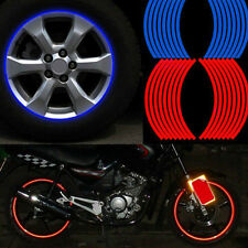 16 STRIPS RED BLUE REFLECTIVE MOTORCYCLE CAR RIM STRIPE WHEEL DECAL TAPE STICKER