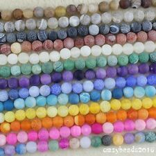 10mm Round Frosted Dream Fire Dragon Veins Agate Gemstone Loose Beads Strand 15""