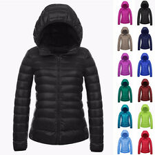 PLUS SIZE Womens Slim Fit Casual Coats Winter Warm Zipper Hooded Padded Jackets