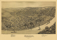 Old Map of Duquesne Pennsylvania 1897  Allegheny County 18x24 24x36 36x54 Poster