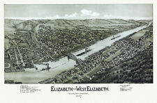 Old Map of Elizabeth Pennsylvania 1897 Allegheny County 18x24 24x36 36x54 Poster