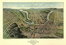 Vintage Map Cumberland Maryland 1906 Allegany County 18x24 24x36 36x54 Poster