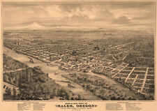 Old Map of Salem Oregon 1876 Marion County 18x24 24x36 36x54 Poster