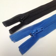 "(10) UCAN #3 Nylon Coil Invisibile Zippers~Separating~Blue,Black~18"" 19"" 20"" 21"""