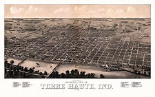 Old Map Terre Haute Indiana 1880 Vigo County 18x24 24x36 36x54 Poster NEW
