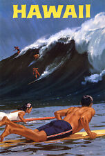 Hawaii Surfing The Big Wave Vintage Travel Poster 18x24 24x36 36x54 NEW old