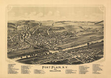 Antique Map of Fort Plain New York 1891 Fulton County 18x24 24x36 36x54 Poster