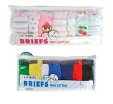 7 pack Girls Briefs OR Boys pants 100% Cotton Pattern Knickers Pants Age 2--8 .