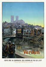 WWI Poster SUMMARY: France Soldiers Marching Beside A River And Over A Bridge In