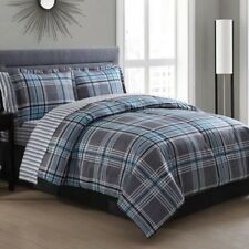 NEW Twin Full Queen King Bed Blue Gray Plaid Stripe 8 pc Comforter Sheet Set NWT