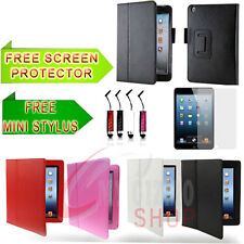 2XLEATHER FLIP CASE COVER FOR APPLE IPAD MINI FREE SEREEN PROTECTOR AND STYLUS