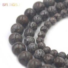 "Natural Round Red Snowflake Obsidian Gemstone Beads Strand 15""  6 8 10 12mm"