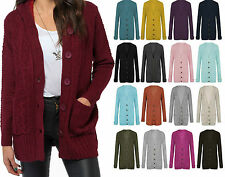 Womens Ladies Aran KNITTED Chunky Button GRANDED CABLE New Style CARDIGAN 8/26