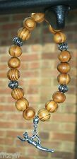 Car Wooden Beads & Swimmer Pendant Charm Swim Swimming Swimmers Gift Souvenir