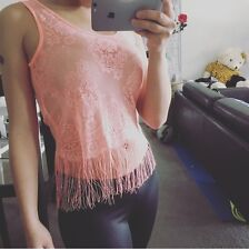 Women Fashion Beach Sexy Lace Floral See Through Cami Top Tank Fringes Tassel